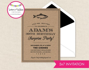 Adult Fishing Birthday Invitation, Adult Fishing Birthday, Fish Fry Invitation, Adult Fishing Birthday Decorations, Lauren Haddox Designs