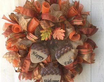 Fall wreath Fall burlap wreath deco mesh wreath Autumn wreath Thanksgiving wreath Fall decor Fall door decor