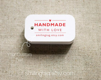 Handmade with Love Tags -Personalized Gift Tags - Handmade by- Thank you tags - Hang tags - Wedding Gift Tags - Set of 30 (Item code: J297)