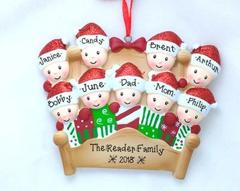 9 Winter Bed Family Ornament / Personalized Christmas Ornament / Christmas Quilt / Family of Nine / Grandchildren