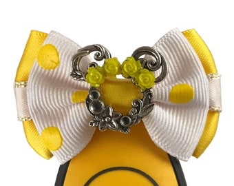 """Yellow Flower Crown Minnie Magic Band Bow or Apple Watch Bow, 2"""" Mini Hair Bow, Hat Bow - Disney Parks Collection"""