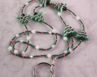 Christmas Tree Holiday  Lanyard in Green Gold Red and White