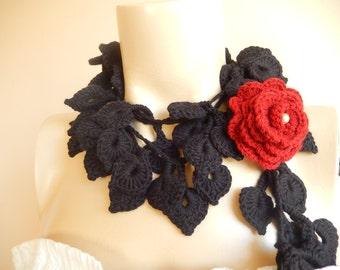 Black Crochet  Scarf-Leaves  Necklace Scarf-Lariat Neklace Scarf-Handmade Long Scarf with Brooch