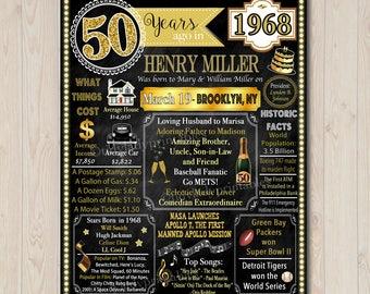 Printable Birthday Facts ~ 1968 birthday facts etsy