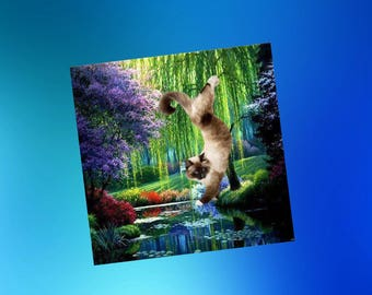 greeting card with cats: yoga session