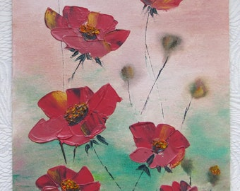 Poppies. Drawing on the canvas oil paints.