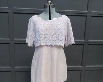 1960s pink flower mini dress/ 1960s shift/ vintage dress