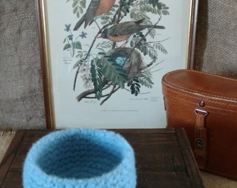 Felted Ribbed Bowl in Robin's Egg Blue / Birds / Nature Lovers / Cozy / Storage Container / Gift For Friend / Mother's Day / Home Decor