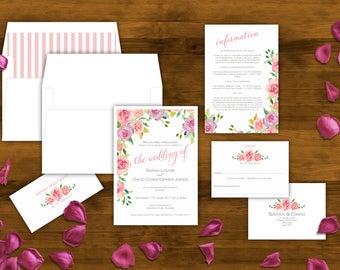 Roses Wedding Invitation, Hand-painted Watercolour Roses, Pink Roses, Pink Floral Invitations