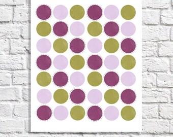 Purple & Green Art For Nursery Baby Girl Room Idea Polka Dot Nursery Cottage Chic Wall Decor Little Girl Artwork Geometric Poster Circle Art