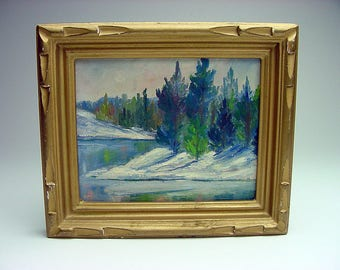 Listed 1964 Maxine Peters Oil Painting Carson City Nevada Winter Scene signed labeled perfect 4 a bunglow decor