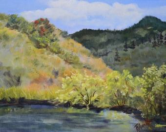 Fine art oil painting original landscape mountain painting plein air oil painting Colorado pond fall colors grass landscape oil painting