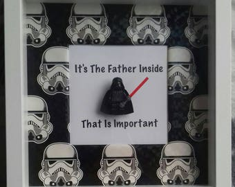 Darth Vader Star Wars frame featuring darth vader minifigure it's the father inside that is important Dad Step Dad Father Daddy  present