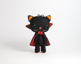 Halloween cat, felt cat, cat ornament, vampire, black cat, dracula cat, halloween ornament, fall decorations,