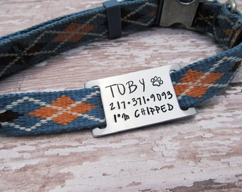 Silent Dog Tag - Quiet Pet ID Tag - Slide On Collar - I'm Chipped - Microchipped - Phone Number