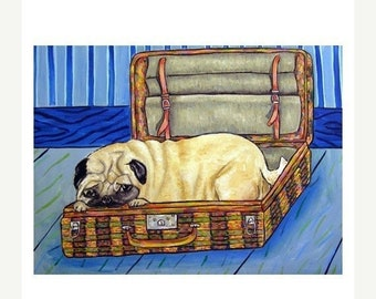 25% off pug art - Pug in a Suitcase Dog Art Print - pug gifts