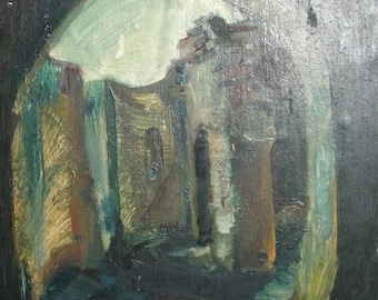 Expressionist vintage cityscape oil painting