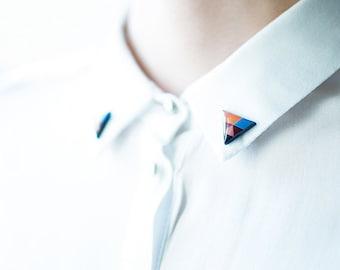 Blue and orange triangle collar brooches geometric shirt accessory unique collar pins