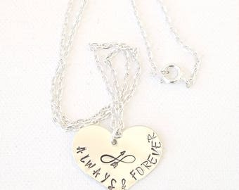 Hand Stamped Heart Necklace Always and Forever Heart Necklace Infinity Arrow Metal Stamped Necklace Personalized Necklace