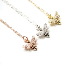 Honey Bee Necklace, Silver CZ Honey Bee Necklace, Bumble Bee Necklace, I love bees, Honey Bee, Dainty Jewelry, Crystal Necklace