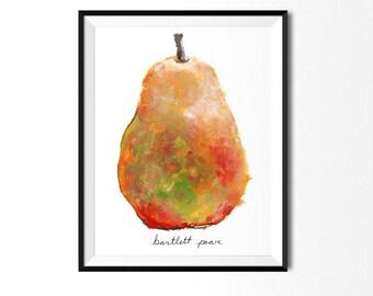 Pear Print, Food Art, Food Illustration, Botanical Art, Kitchen Decor, Fruit Painting, Pear Art, Fruit Print, Pear Painting, Botanical Print