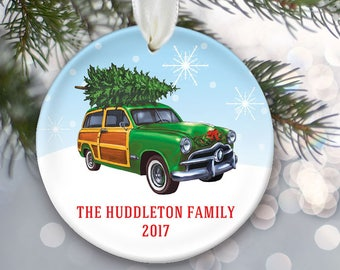 Woodie ornament with Christmas tree Green woody 1959 Chevrolet Chevy Vintage station wagon ornament Personalized Christmas ornament OR832