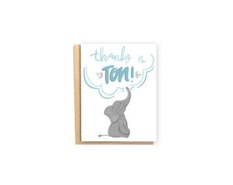 Thanks a Ton- Thank You Card, Appreciation Card, Baby Shower Thank You Card, Pun Card, Elephant Card, Cute Card