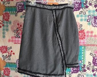 Gray and Black Asymmetrical Skirt