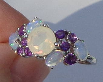 Sz 8 3/4, Welo Opal Ring,Natural Gemstone,Faceted Opal,Peach,Yellow,Green Color Play,Rainbow Moonstone,Amethyst Accents,Sterling Silver Ring