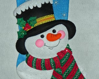 Jack Frost Bucilla Completed 18 Inch Felt Stocking