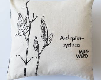 Milkweed Hand Printed Decorative Pillow COVER OOAK Bees