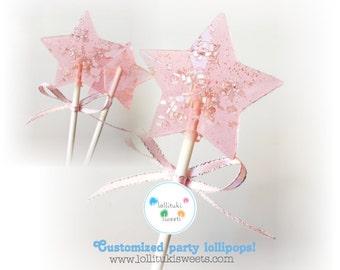 Cute Star Lollipops! Pink lollipops, (6) birthday lollipops, baby shower lollipops, star lollipops, by Lollituki Sweets