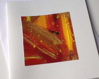Handpainted red and gold - double cards modern greeting cards