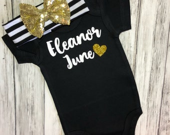 Personalized name black bodysuit/Personalized bodysuit/Baby shower gift for girl/baby girl custom clothes/ custom baby girl/name shirt
