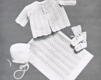 Baby openwork knitting pattern set PDF / Jacket, blanket, booties and cap knitting pattern / Vintage baby set pattern