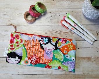 japanese art pencil case | zipper pouch | geisha manga butterfly flowers | school office pen bag | accessory case |  makeup brush storage