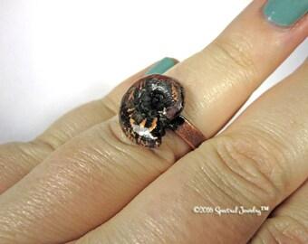 SPRING CLEAN SALE Electroform Ammonite Fossil Shell Plus Size Statement Ring | Sz  10 Mermaid Boho