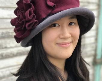 Edwardian Suffragette Hat- Grey and Burgundy Polar Fleece- Margaret