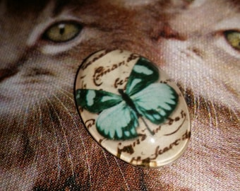 Butterfly Cabochon - Butterfly Pendant - 30mmx20mmx7mm - Qty 1 - Glass Cabochon - Turquoise Butterfly - Cabochon finding - Glass pendant