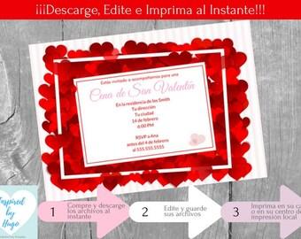 Invitación Cena San Valentín para Adultos, Fiesta de San Valentín, Descarga Instantánea, Invitación en español Editable para personalizar