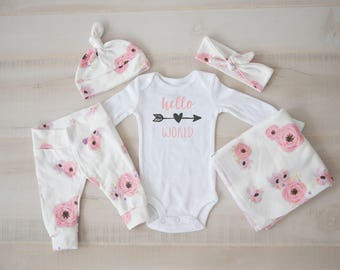 Baby Girl Coming Home Outfit, baby shower: Watercolor Floral Pants, Knot Top Headband, Knot Hat, Hello, World Bodysuit, Swaddle
