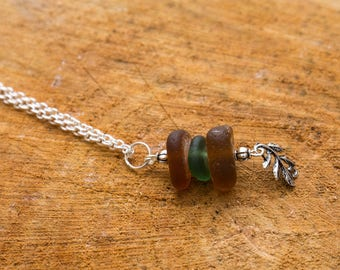 brown and green seaglass charm necklace