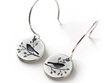 Handmade Round Summer Songbird Sterling Silver Earrings