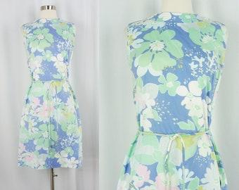 Vintage Sixites Dress - 1960s Floral Cotton Dress - 60s Shift Dress - Sleeveless Summer Dress - Medium