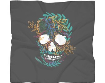 Flower Skull Print Poly Scarf