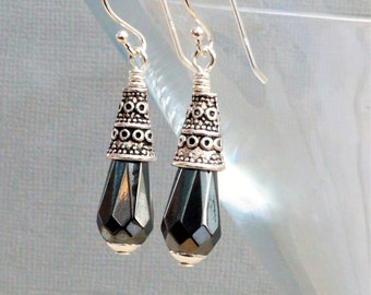 Haematite earrings, grey and silver earrings, briolette earrings, hematite drops, gunmetal grey earrings, elegant haematite earrings