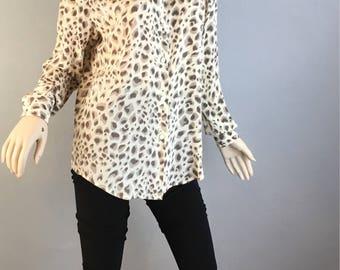90s Leopard Print Blouse// Vintage Silk Blouse Leopard Print (F1)