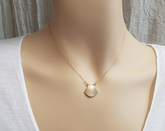 Seashell Gold Necklace - Sea shell Pendant, Delicate Jewelry, Beach Summer Delicate Necklace, By Talya Jewelry