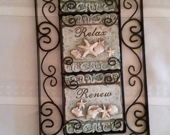 "Metal and Ceramic ""Rest-Relax-Renew"" Beach Plaque"