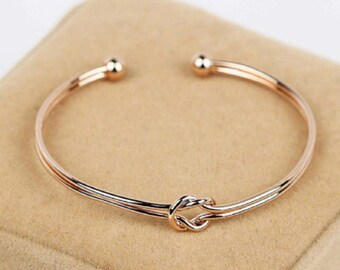 SILVER or GOLD Double Love Knot Adjustable Bracelet